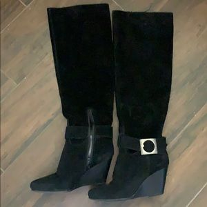 Genuine suede slouchy tall buckle boots